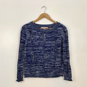Navy/Metallic sweater with distressed look, Size S